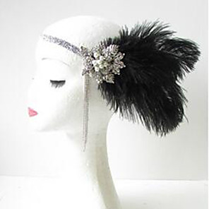 cheap Historical & Vintage Costumes-The Great Gatsby Charleston 1920s The Great Gatsby Masquerade Women's Costume Head Jewelry Black Vintage Cosplay Party Halloween / Headwear / Headwear