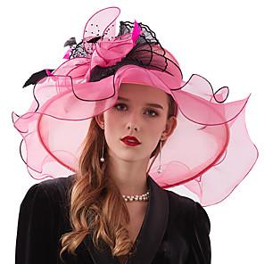 cheap Historical & Vintage Costumes-Organza / Feathers / Net Kentucky Derby Hat / Fascinators / Headdress with Feather / Flower / Net 1 Piece Wedding / Tea Party / Outdoor Headpiece