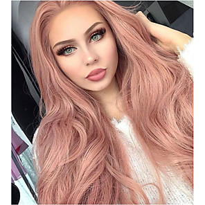 cheap Synthetic Trendy Wigs-Synthetic Lace Front Wig Natural Wave Kardashian Natural Wave Middle Part Lace Front Wig Long Black#1B Pink Purple Black / Pink Synthetic Hair 20-26 inch Women's Natural Hairline Rose Pink Sylvia