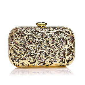 cheap Clutches & Evening Bags-Women's Crystals Alloy Evening Bag Floral Print Gold / Silver / Blue / Fall & Winter
