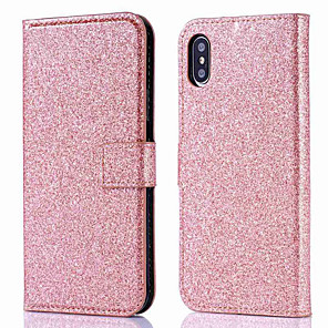 cheap iPhone Cases-Case For Apple iPhone XS / iPhone XR / iPhone XS Max Wallet / Card Holder / Flip Full Body Cases Solid Colored / Glitter Shine Hard PU Leather