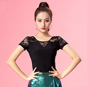 cheap Ballroom Dancewear-Ballroom Dance Top Lace Ruching Women's Performance Short Sleeve Ice Silk