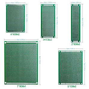 cheap Robots & Accessories-12Pcs Double Sided PCB Board Prototype Kit for DIY Soldering with 5 Sizes Compatible with Arduino Kits