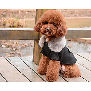 cheap Dog Clothes-Dogs Cats Coat Winter Dog Clothes Black Gray Costume Husky Pekingese Pomeranian Cotton Solid Colored Ordinary Fashion S M L