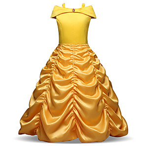 cheap Movie & TV Theme Costumes-Princess Long Length Party / Birthday / Pageant Flower Girl Dresses - Polyester Sleeveless Off Shoulder with Tier / Ruching / Crystals / Rhinestones