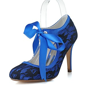 cheap Wedding Shoes-Women's Wedding Shoes Lace up Stiletto Heel Round Toe Ribbon Tie Lace Vintage Spring & Summer Pink / Blue / White / Party & Evening