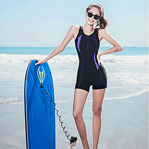 cheap Wetsuits, Diving Suits & Rash Guard Shirts-SANQI Women's One Piece Swimsuit Patchwork Padded Swimwear Swimwear Blue Black Breathable Quick Dry Ultra Light (UL) Sleeveless - Swimming Water Sports Summer / Neoprene / High Elasticity / Neoprene