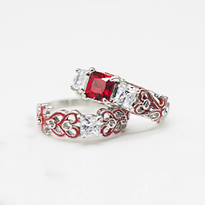 cheap Rings-Women's Ring Ring Set Cubic Zirconia 2pcs Red Green Blue Chrome Geometric Stylish Luxury European Wedding Party Jewelry Classic Cool