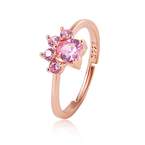 cheap Rings-Women's Open Ring thumb ring Pussy Rings Cubic Zirconia 1pc Gold Silver Rhinestone Alloy Casual / Sporty Korean Cute Daily Holiday Jewelry Cat Cat Claw Lovely