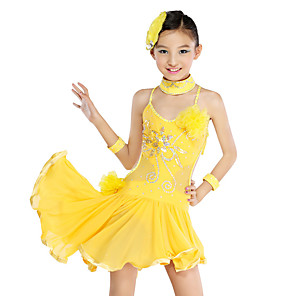 cheap Kids' Dancewear-Latin Dance Kids' Dancewear Dress Cascading Ruffles Crystals / Rhinestones Paillette Girls' Training Performance Sleeveless Mesh Polyester