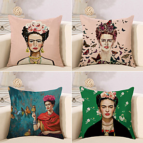 cheap Throw Pillow Covers-Set of 4 Cotton / Linen Pillow Case, Retro Oil Painting Artwork Traditional / Vintage Artistic Throw Pillow