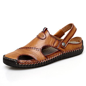 cheap Men's Sandals-Men's Comfort Shoes Summer Casual Daily Outdoor Sandals Upstream Shoes Cowhide Breathable Waterproof Non-slipping Light Brown / Dark Brown / Black