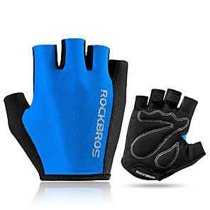 cheap Women's Boots-ROCKBROS Bike Gloves / Cycling Gloves Mountain Bike Gloves Mountain Bike MTB Road Bike Cycling Lightweight Sunscreen Breathable Padded Fingerless Gloves Half Finger Sports Gloves Sponge Mesh Terry