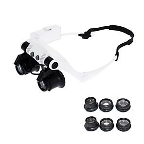 voordelige Test-, meet- & inspectieapparatuur-10x 15x 20x 25x bril ogen verlicht vergrootglas vergrootglas horloge reparatie loupe met led-verlichting