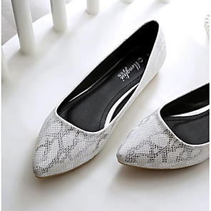 cheap Women's Flats-Women's Flats Plus Size Flat Heel Pointed Toe Casual Daily Faux Leather Snakeskin Summer White
