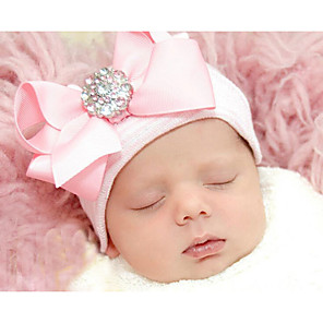 cheap Kids' Hats & Caps-Infant Unisex Basic / Sweet Solid Colored / Striped Bow Rayon Hats & Caps Pink / Beige / Rainbow One-Size