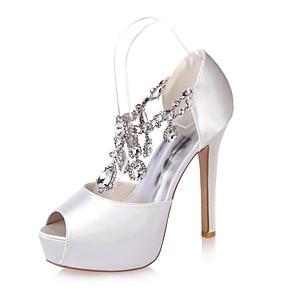 cheap Wedding Shoes-Women's Wedding Shoes Stiletto Heel Peep Toe Rhinestone Satin Minimalism Spring & Summer Black / White / Purple / Party & Evening