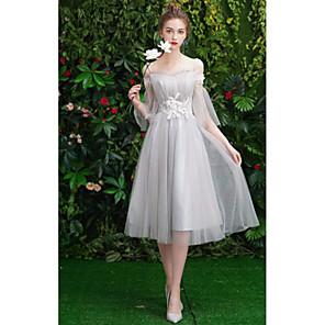 cheap Bridesmaid Dresses-Sheath / Column Off Shoulder Medium Length Tulle Bridesmaid Dress with Pleats