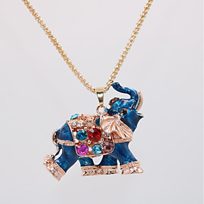 cheap Earrings-Women's Pendant Necklace Statement Necklace Classic Elephant Animal Unique Design Classic Vintage Ethnic Chrome Red Blue 70 cm Necklace Jewelry 1pc For Carnival Masquerade Birthday Bar Festival