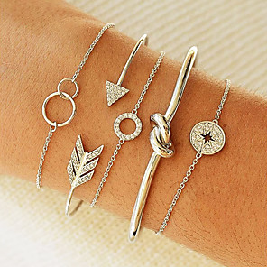 cheap Bracelets-5pcs Women's Chain Bracelet Cuff Bracelet Layered Love knot Coin Twist Circle Knot Trendy Korean Imitation Diamond Bracelet Jewelry Gold / Silver For Party Daily