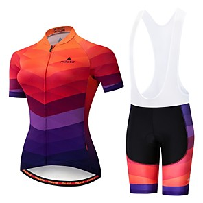 cheap Cycling Jersey & Shorts / Pants Sets-Miloto Women's Short Sleeve Cycling Jersey with Bib Shorts Orange+White Black / Orange Bike Padded Shorts / Chamois Clothing Suit Breathable 3D Pad Moisture Wicking Reflective Strips Sports Lycra