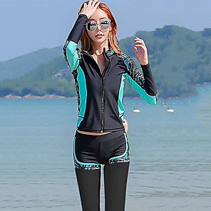 cheap Wetsuits, Diving Suits & Rash Guard Shirts-YOBEL Women's Rash Guard Dive Skin Suit Diving Suit Quick Dry Long Sleeve 3-Piece - Swimming Solid Colored Fashion Autumn / Fall Spring Summer / Winter