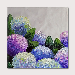 cheap Floral/Botanical Paintings-Oil Painting Hand Painted - Abstract Floral / Botanical Classic Modern Stretched Canvas