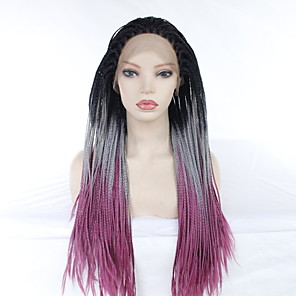 cheap Synthetic Lace Wigs-Synthetic Lace Front Wig Straight Plaited Middle Part Lace Front Wig Long Black / Purple Synthetic Hair 24 inch Women's Party Synthetic Easy dressing Black Purple