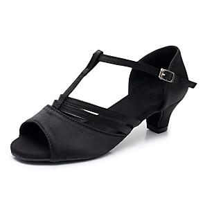 cheap Latin Shoes-Women's Dance Shoes Satin Latin Shoes Buckle Sandal / Heel Thick Heel Customizable Black / Performance / Practice