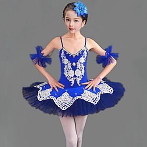 cheap Latin Dancewear-Kids' Dancewear Ballet Dress Split Joint Crystals / Rhinestones Girls' Training Performance Sleeveless Mesh Polyester