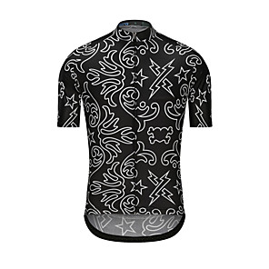 cheap Cycling Jerseys-Men's Short Sleeve Cycling Jersey Black Stars Bike Jersey Top Sports Clothing Apparel / High Elasticity