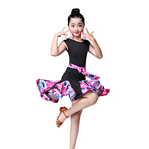 cheap Latin Dancewear-Latin Dance Kids' Dancewear Dress Pattern / Print Ruching Split Joint Girls' Performance Sleeveless High Nylon
