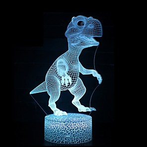 cheap 3D Night Lights-3D Illusion Led Lamp Dinosaur 7 Color Led Bulb Decoration Animal Night Light Touch Sleeping Nightlight Table Lamp