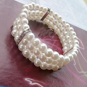 cheap Bracelets-Women's Bead Bracelet Wrap Bracelet Beads Sweet Elegant Imitation Pearl Bracelet Jewelry White For Wedding Party