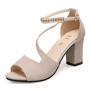 cheap Women's Sandals-Women's Heels Open Toe Beading Leatherette Basic Pump Summer Green / Black / Beige / EU39