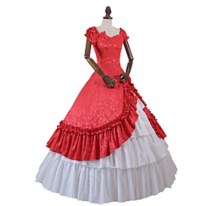 cheap Historical & Vintage Costumes-Princess Rococo Victorian 18th Century Dress Party Costume Costume Women's Cotton Costume Red Vintage Cosplay Masquerade Party & Evening Short Sleeve Floor Length Long Length Plus Size