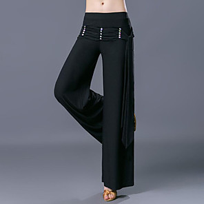 cheap Ballroom Dancewear-Ballroom Dance Pants Ruching Crystals / Rhinestones Women's Training Performance Natural Polyester