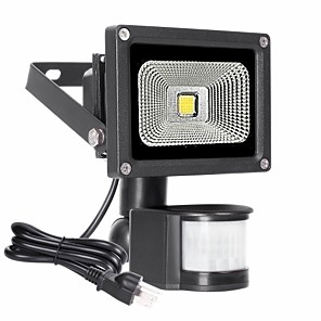 cheap LED Flood Lights-1pc 10 W LED Flood Waterproof  Lights Infrared Sensor   Dimmable Warm White 85-265 V Outdoor Lighting   Courtyard   Garden 1 LED Beads