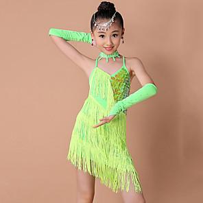 cheap Latin Dancewear-Latin Dance Kids' Dancewear Dress Criss Cross Tassel Paillette Girls' Training Performance Sleeveless Nylon Sequined