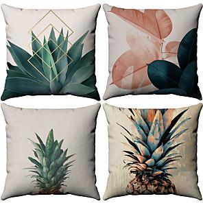 cheap Throw Pillow Covers-Set of 4 Cotton / Linen Pillow Case, Botanical Pattern Patterned Tropical Throw Pillow