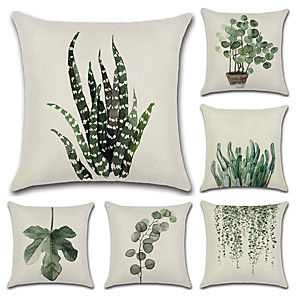 cheap Cushion Covers-Set of 6 Cotton / Linen Pillow Case, Botanical Bohemian Style Retro Antique Rustic Throw Pillow