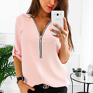 cheap Other Phone Case-Women's Plus Size Shirt Solid Colored Tops V Neck White Red Blushing Pink