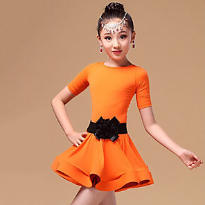cheap Latin Dancewear-Latin Dance Kids' Dancewear Dress Sash / Ribbon Cascading Ruffles Girls' Training Performance Short Sleeve Spandex Pleuche Polyester