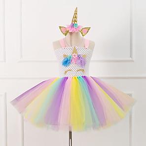 cheap Movie & TV Theme Costumes-Unicorn Pony Classic Lolita Dress Petticoat Hoop Skirt Tutu Under Skirt Girls' Kid's Satin Costume White / Pink Vintage Cosplay Party Performance Festival Princess / Headband / Headband