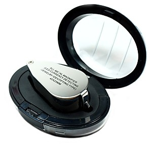 cheap Testers & Detectors-9890 Portable Mini 40 x Loupe Magnifier Magnifying Triplet Jewelers Eye Glass Jewelry Diamond with Ultraviolet Light LED Lamp