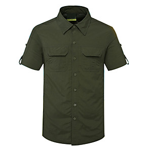 cheap Hiking Shirts-Men's Hiking Shirt / Button Down Shirts Short Sleeve Outdoor Quick Dry Fast Dry Breathability Sweat-Wicking Shirt Top Autumn / Fall Spring Cotton Traveling Indoor Walking Army Green Grey Khaki
