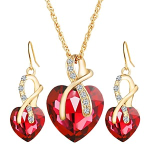 cheap Jewelry Sets-Women's Crystal Drop Earrings Pendant Necklace Classic Heart Luxury European Elegant Earrings Jewelry Red / Green / Blue For Party Ceremony 3pcs / pack