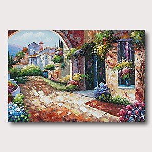 cheap Famous Paintings-Oil Painting Hand Painted - Abstract Landscape Comtemporary Modern Stretched Canvas