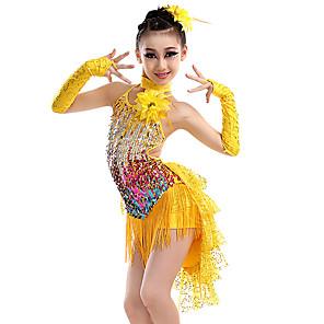 cheap Kids' Dancewear-Latin Dance Kids' Dancewear Hair Jewelry Criss Cross Tassel Tiered Girls' Training Performance Sleeveless Nylon Sequined