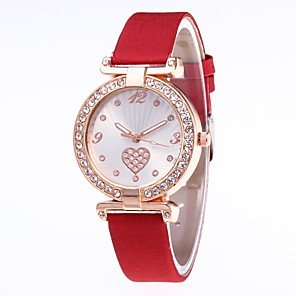 cheap Quartz Watches-Women's Bracelet Watch Quartz Heart Stylish Heart shape Casual Watch PU Leather Black / Red / Blushing Pink Analog - Wine White Black One Year Battery Life / Jinli 377
